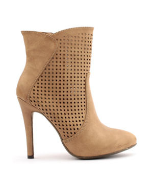 Hnědé děrované boty na podpatku Trendy too - Boty b971658489