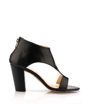 Černé kožené elegantní boty na podpatku Maria Jaén - Boty 290733665d