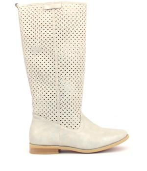 Bílé kožené letní kozačky Trendy too - Boty 85a9f814ac