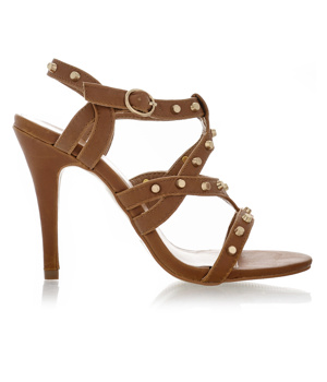 Hnědé sandálky na podpatku Obelia se zlatými cvočky - Boty fed469ef77